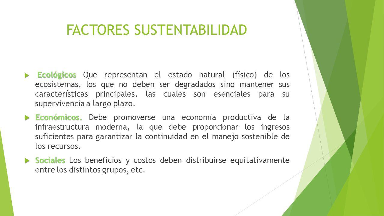 FACTORES SUSTENTABILIDAD Ecológicos Ecológicos Que representan el estado natural (físico) de los ecosistemas, los que no deben ser degradados sino mantener sus características principales, las cuales son esenciales para su supervivencia a largo plazo.