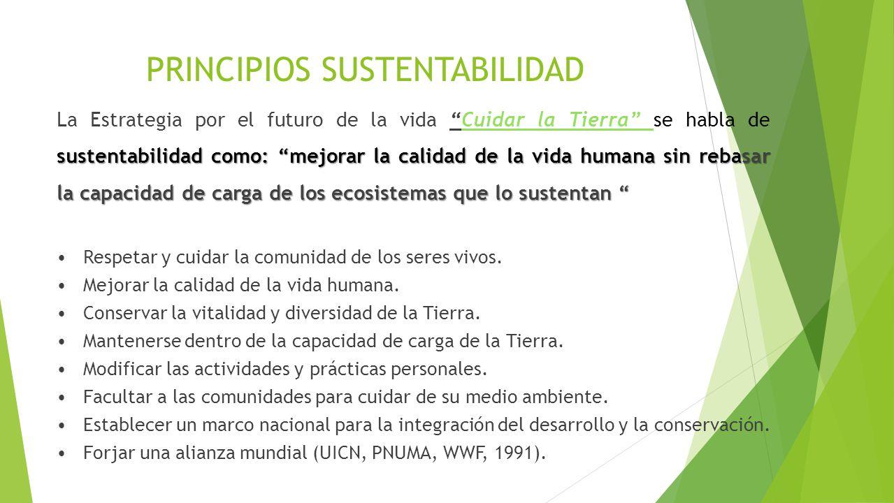 PRINCIPIOS SUSTENTABILIDAD sustentabilidad como: mejorar la calidad de la vida humana sin rebasar la capacidad de carga de los ecosistemas que lo sust