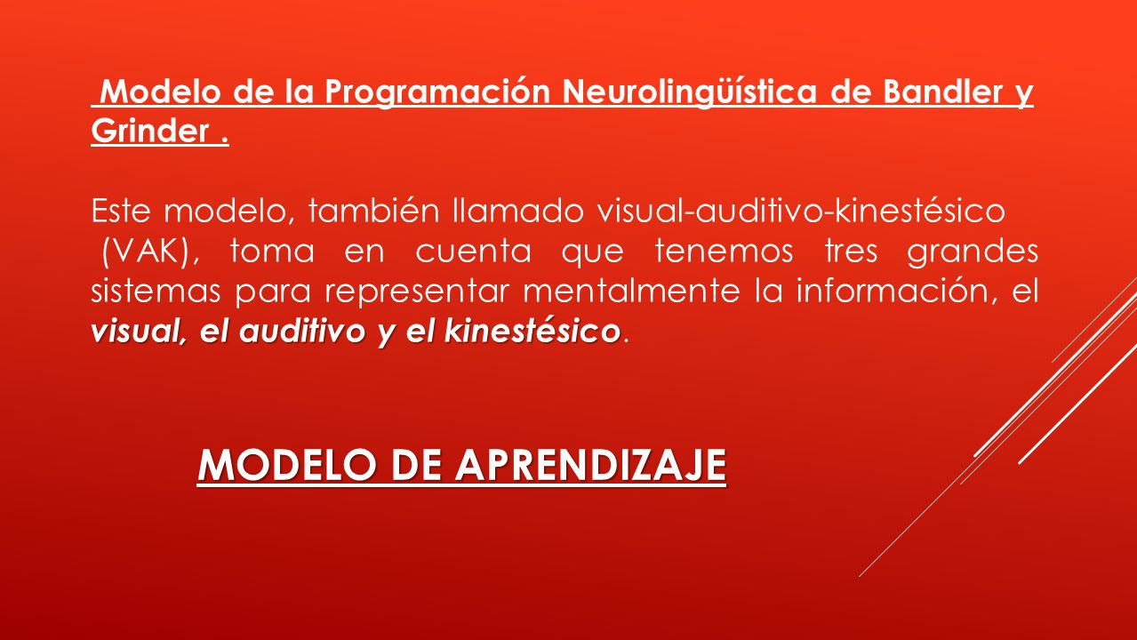 Modelo de la Programación Neurolingüística de Bandler y Grinder. Este modelo, también llamado visual-auditivo-kinestésico visual, el auditivo y el kin