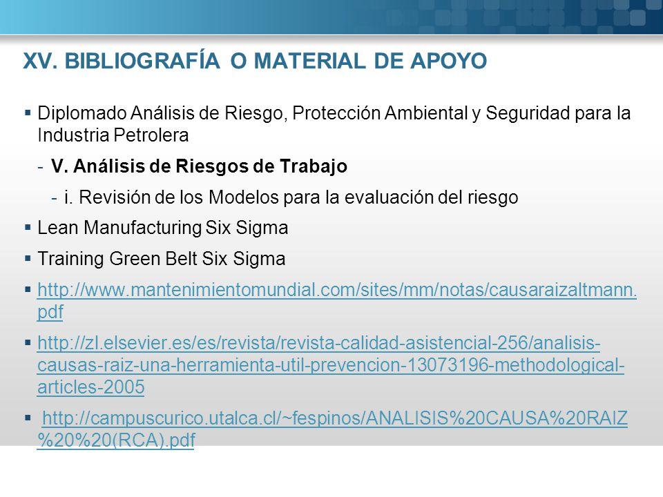 XV. BIBLIOGRAFÍA O MATERIAL DE APOYO Diplomado Análisis de Riesgo, Protección Ambiental y Seguridad para la Industria Petrolera -V. Análisis de Riesgo
