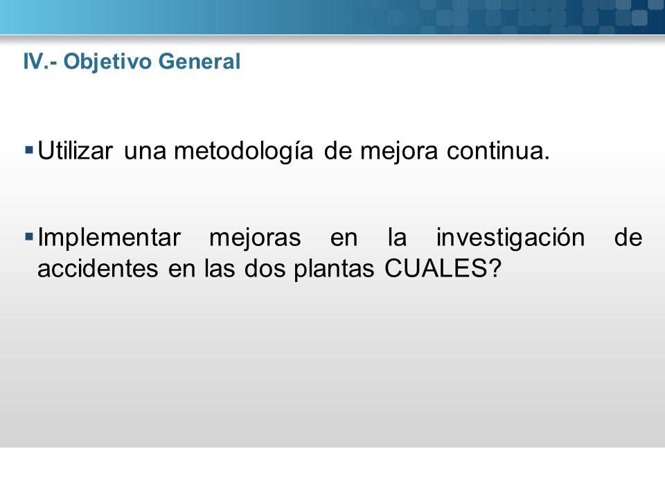 IV.- Objetivo General Utilizar una metodología de mejora continua. Implementar mejoras en la investigación de accidentes en las dos plantas CUALES?