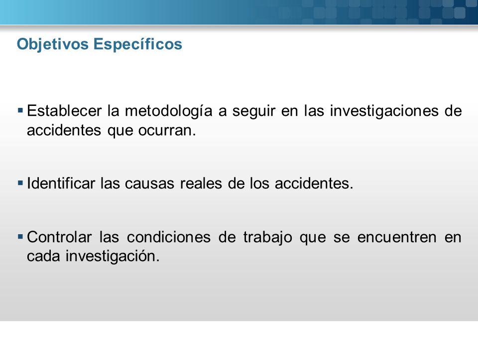 Objetivos Específicos Establecer la metodología a seguir en las investigaciones de accidentes que ocurran. Identificar las causas reales de los accide