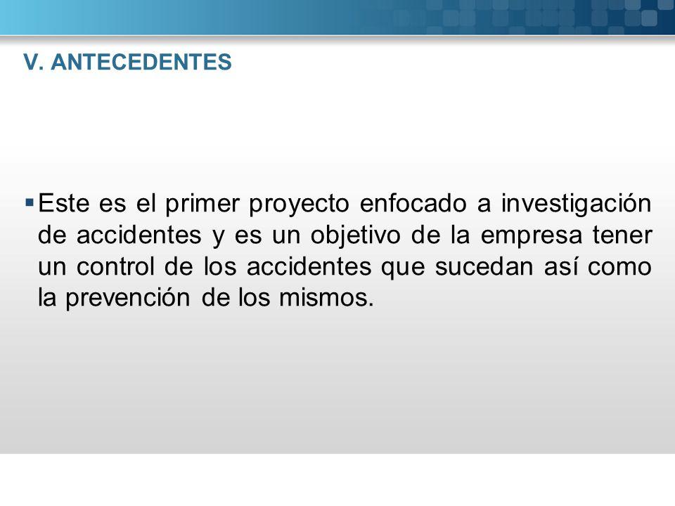 V. ANTECEDENTES Este es el primer proyecto enfocado a investigación de accidentes y es un objetivo de la empresa tener un control de los accidentes qu