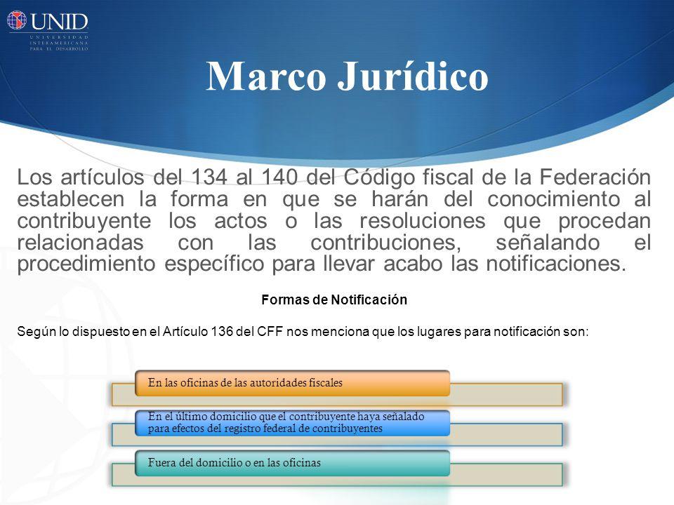 Los artículos del 134 al 140 del Código fiscal de la Federación establecen la forma en que se harán del conocimiento al contribuyente los actos o las resoluciones que procedan relacionadas con las contribuciones, señalando el procedimiento específico para llevar acabo las notificaciones.