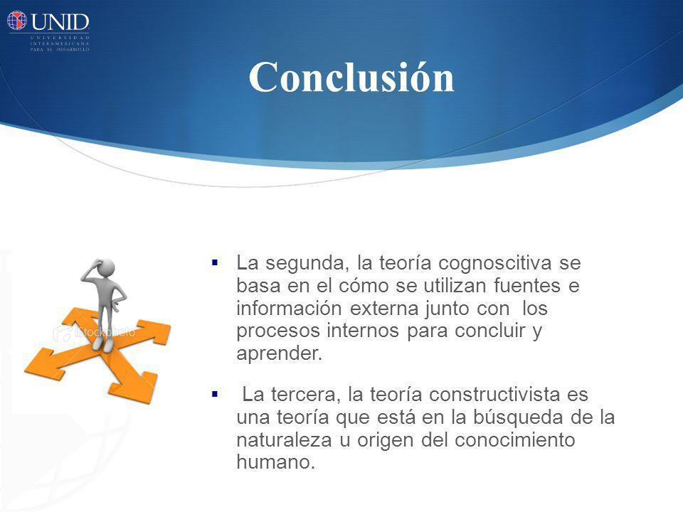 Conclusión La segunda, la teoría cognoscitiva se basa en el cómo se utilizan fuentes e información externa junto con los procesos internos para conclu