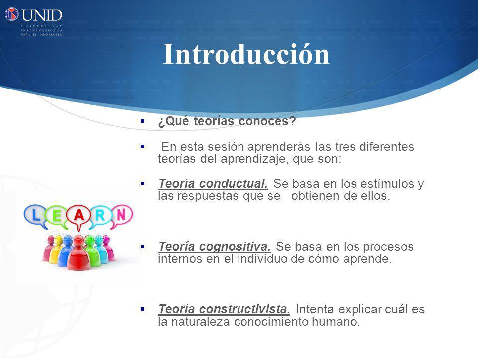Introducción ¿Qué teorías conoces? En esta sesión aprenderás las tres diferentes teorías del aprendizaje, que son: Teoría conductual. Se basa en los e
