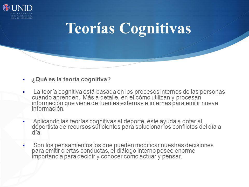 Teorías Cognitivas ¿Qué es la teoría cognitiva? La teoría cognitiva está basada en los procesos internos de las personas cuando aprenden. Más a detall
