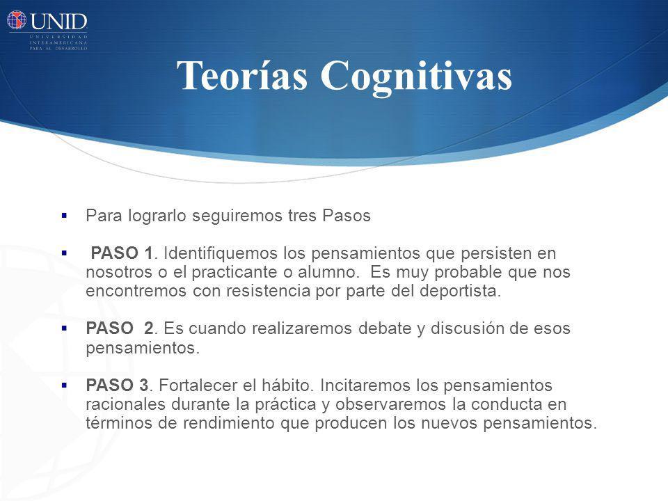 Teorías Cognitivas Para lograrlo seguiremos tres Pasos PASO 1. Identifiquemos los pensamientos que persisten en nosotros o el practicante o alumno. Es