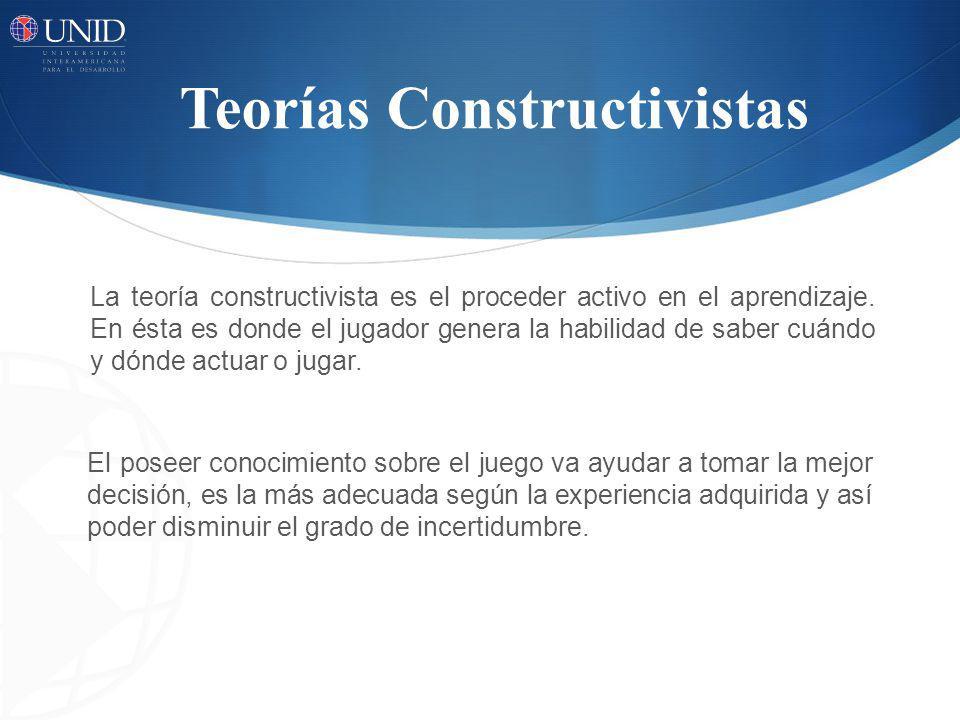 Teorías Constructivistas La teoría constructivista es el proceder activo en el aprendizaje. En ésta es donde el jugador genera la habilidad de saber c