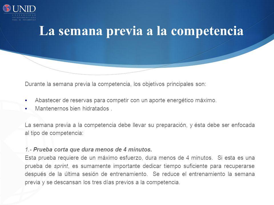 La semana previa a la competencia Durante la semana previa la competencia, los objetivos principales son: Abastecer de reservas para competir con un a