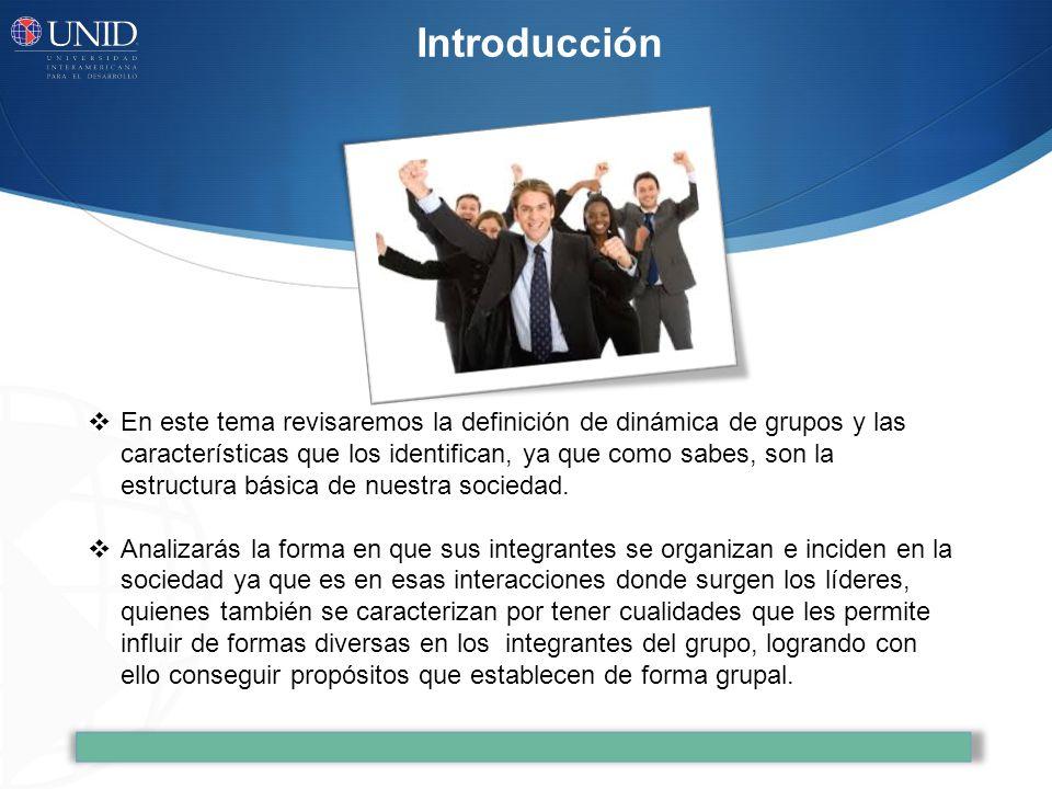 Introducción En este tema revisaremos la definición de dinámica de grupos y las características que los identifican, ya que como sabes, son la estruct