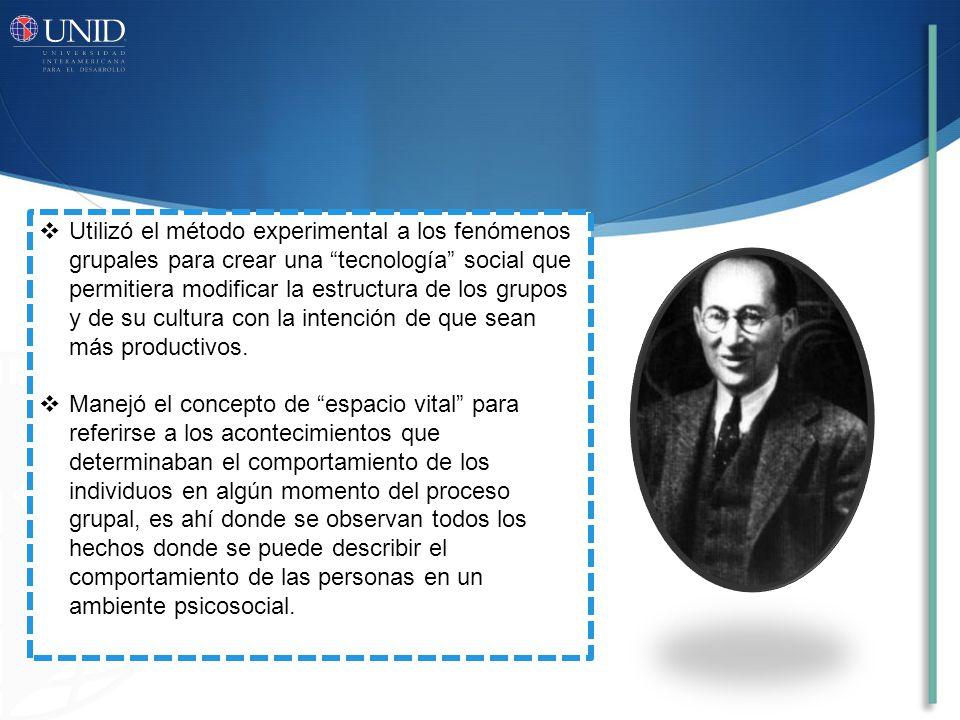 Utilizó el método experimental a los fenómenos grupales para crear una tecnología social que permitiera modificar la estructura de los grupos y de su