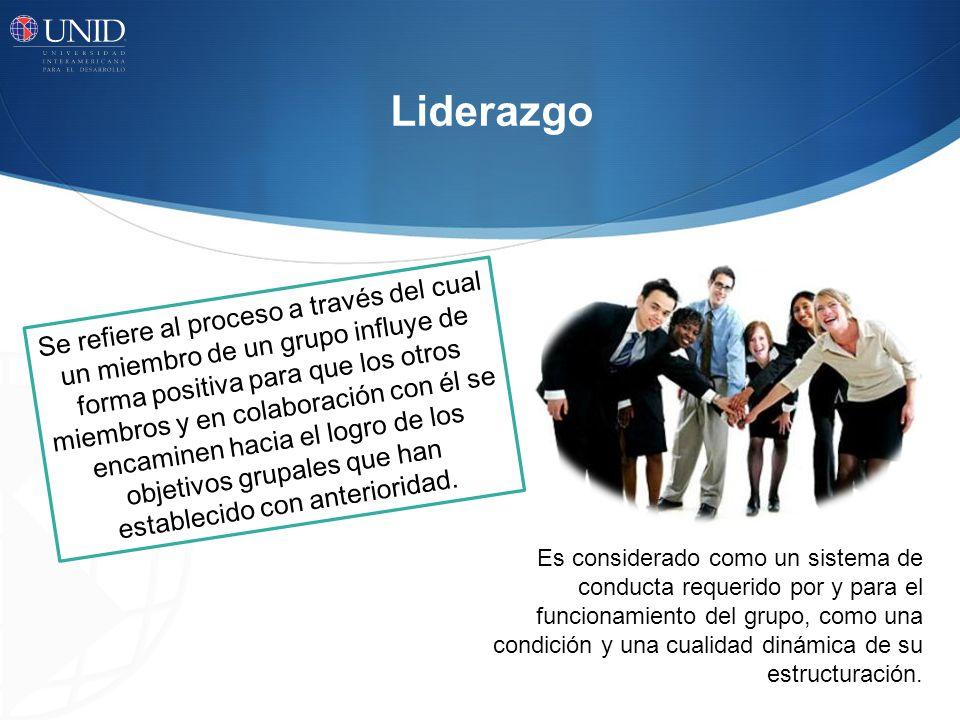 Liderazgo Se refiere al proceso a través del cual un miembro de un grupo influye de forma positiva para que los otros miembros y en colaboración con é