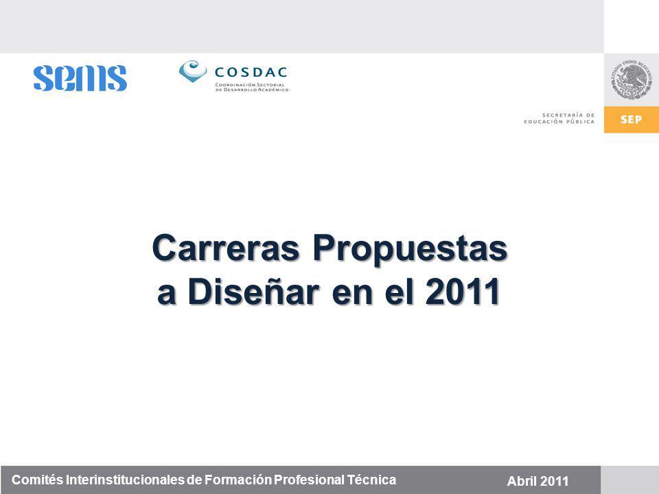Comités Interinstitucionales de Formación Profesional Técnica Abril 2011 Carreras Propuestas a Diseñar en el 2011