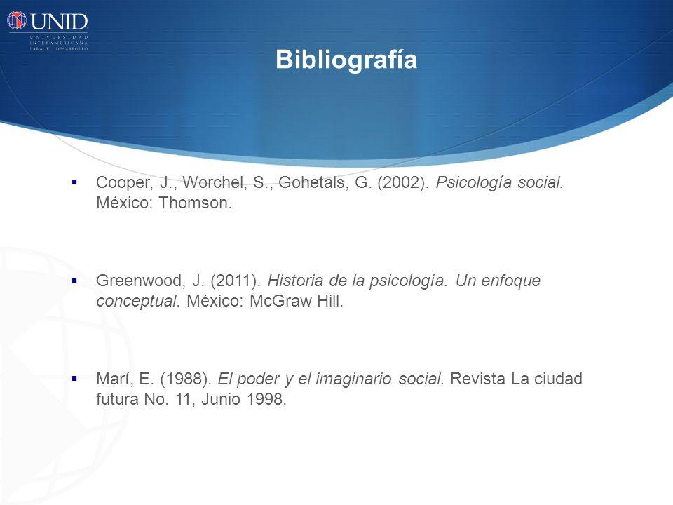 Bibliografía Cooper, J., Worchel, S., Gohetals, G.