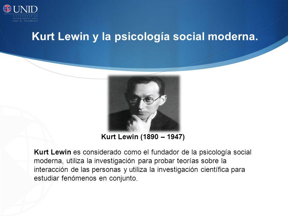 Kurt Lewin y la psicología social moderna.
