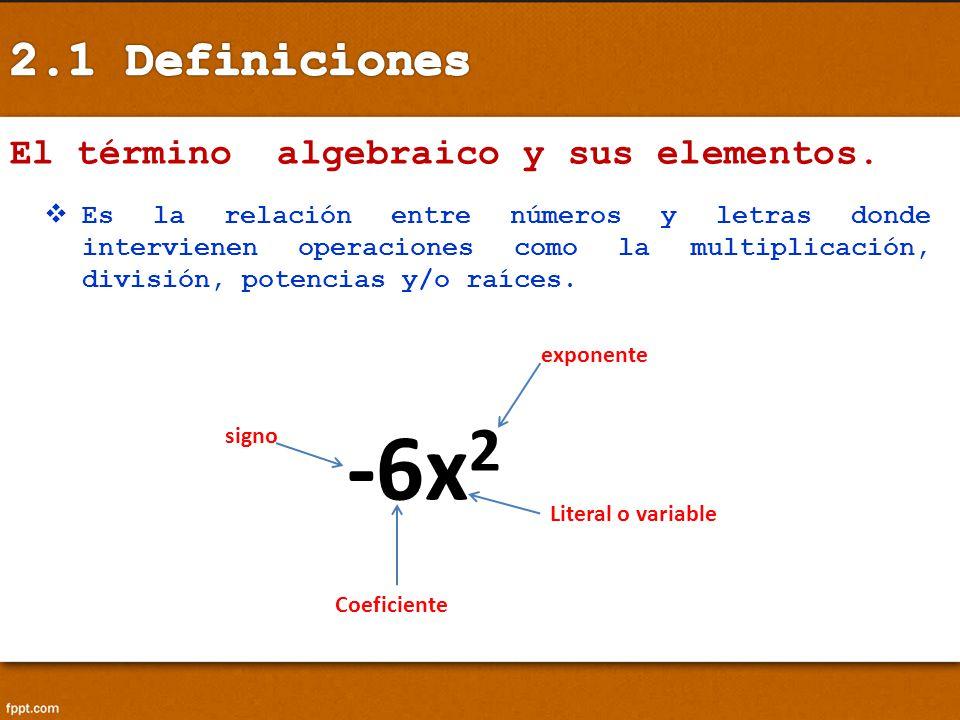 El término algebraico y sus elementos. Es la relación entre números y letras donde intervienen operaciones como la multiplicación, división, potencias