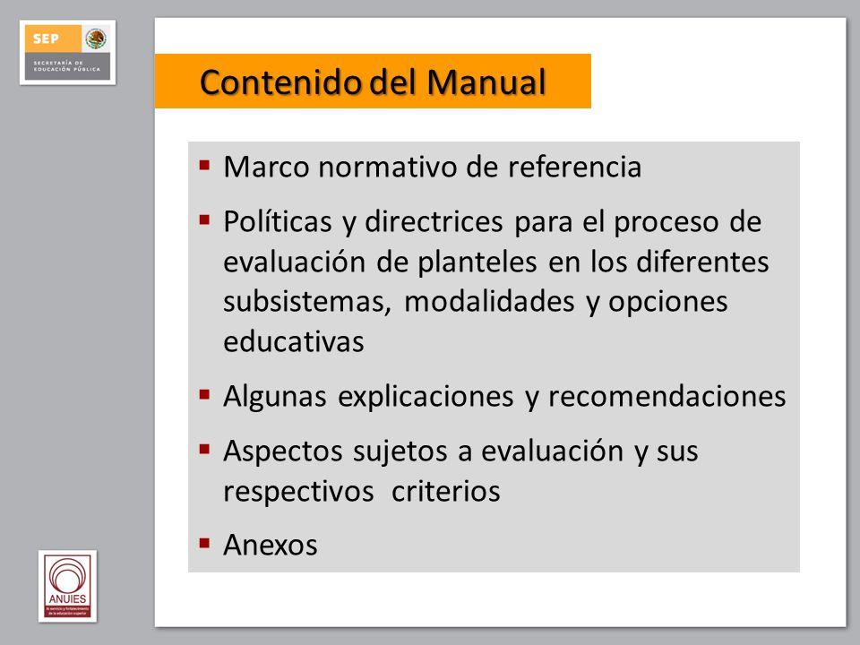 6.1 Información general del plantel y normativa 6.2 Currículos, planes y programas de estudios 6.2.1Perfil de egreso 6.2.2Identificación en el plan y los programas de estudio de las competencias genéricas, disciplinares (básicas y extendidas) y profesionales 6.2.3Procesos académicos internos 6.2.4Las asignaturas y su vinculación con el perfil de egreso 6.2.5Recursos didácticos, bibliográficos y fuentes de información 6.2.6Métodos, medios e instrumentos de evaluación de los aprendizajes 6.2.7Programa de orientación educativa 6.2.8Programa de tutoría 6.