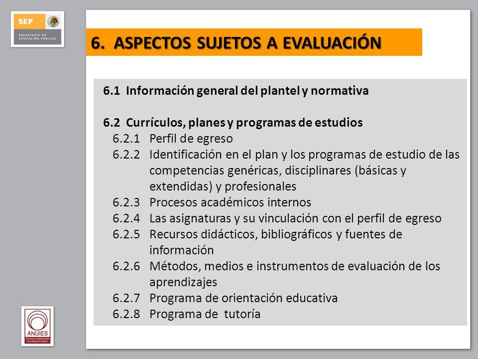 6.3 Planta docente 6.3.1 Perfil del docente 6.4 Servicios escolares 6.4.1 Políticas de ingreso de alumnos al plantel 6.4.2 Normas para el egreso, la certificación y la titulación 6.5 Instalaciones y equipamiento 6.5.1 Aulas 6.5.2 Laboratorios y talleres 6.5.3 Equipos y tecnologías de información y comunicación 6.5.4 Biblioteca 6.5.5 Espacios para docentes 6.5.6 Espacios para orientación y tutoría 6.5.7 Sanitarios 6.5.8 Áreas deportivas, culturales y recreativas 6.5.9 Áreas administrativas 6.5.10 Programa de mantenimiento y desarrollo 6.