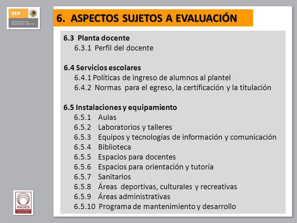 6.3 Planta docente 6.3.1 Perfil del docente 6.4 Servicios escolares 6.4.1 Políticas de ingreso de alumnos al plantel 6.4.2 Normas para el egreso, la c