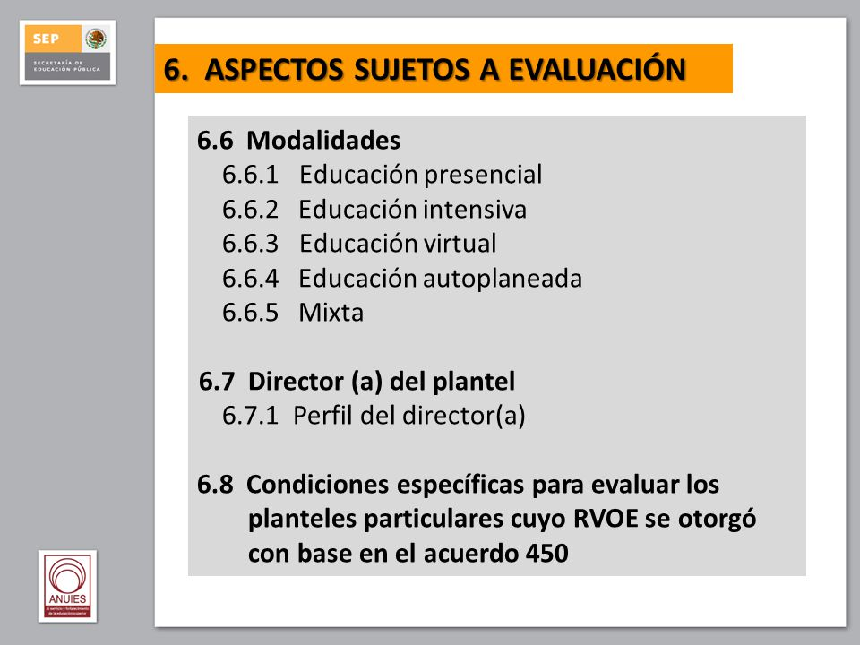 ANEXOS I.Principios éticos de los organismos evaluadores II.Glosario III.Referencias para la operación de espacios y equipos educativos IV.Diagramas de flujo para los procesos de evaluación previa y de ingreso al SNB
