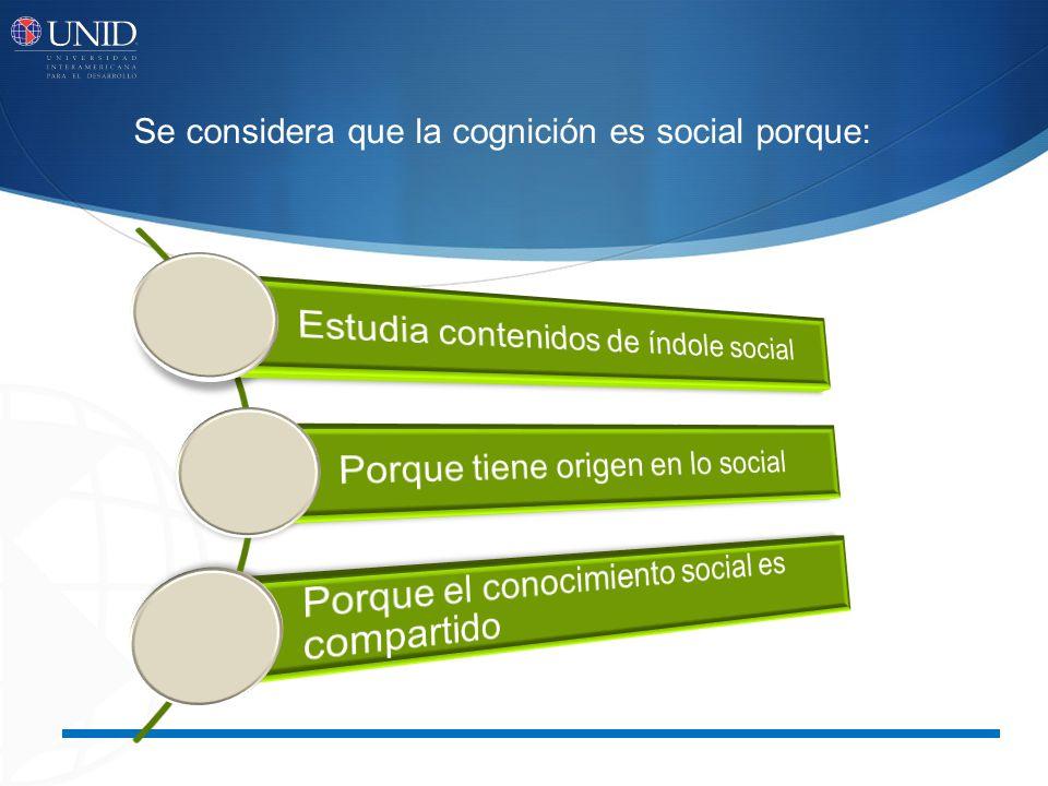Se considera que la cognición es social porque: