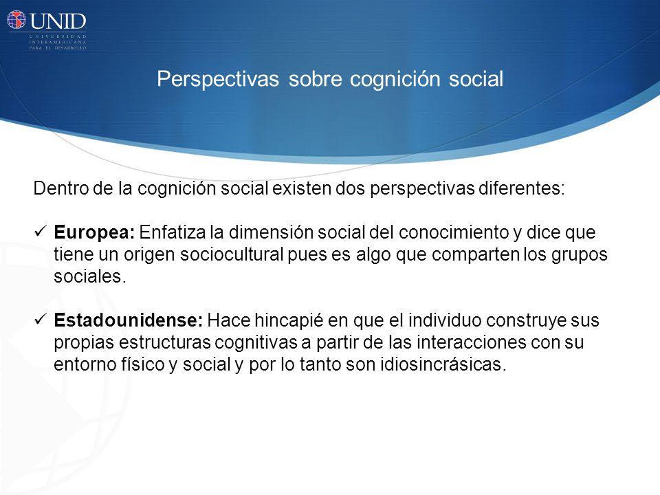 Dentro de la cognición social existen dos perspectivas diferentes: Europea: Enfatiza la dimensión social del conocimiento y dice que tiene un origen s