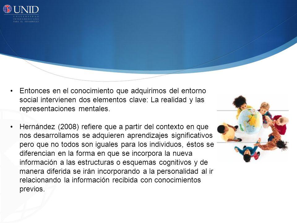 Entonces en el conocimiento que adquirimos del entorno social intervienen dos elementos clave: La realidad y las representaciones mentales. Hernández
