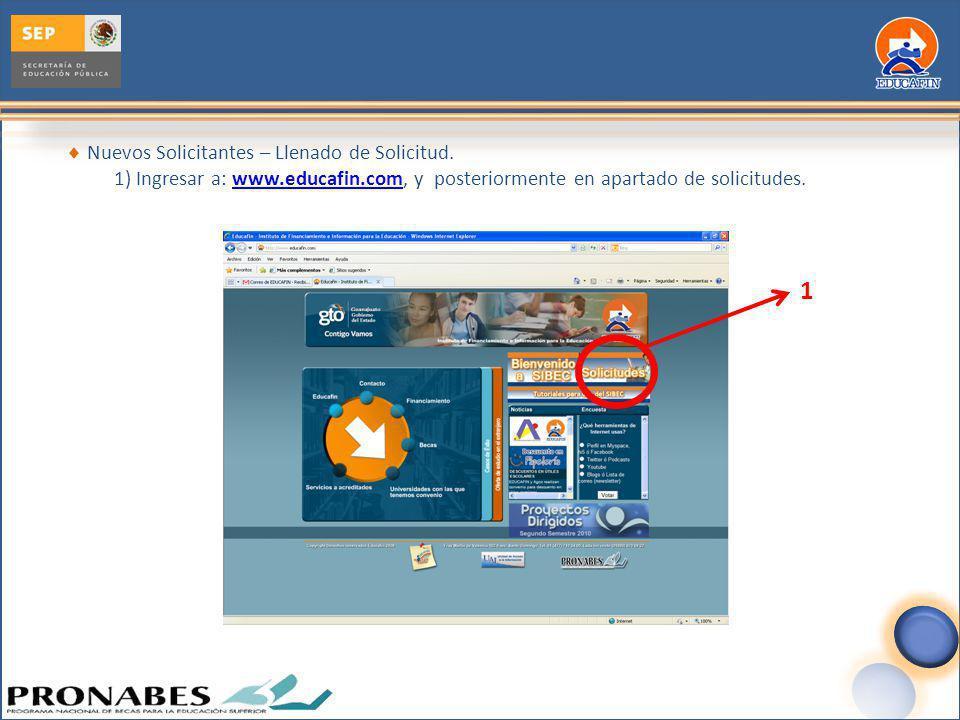 Nuevos Solicitantes – Llenado de Solicitud. 1) Ingresar a: www.educafin.com, y posteriormente en apartado de solicitudes.www.educafin.com 1