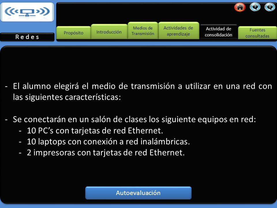 -El alumno investigará cuáles son los medios de transmisión comúnmente utilizados en el diseño de una red.