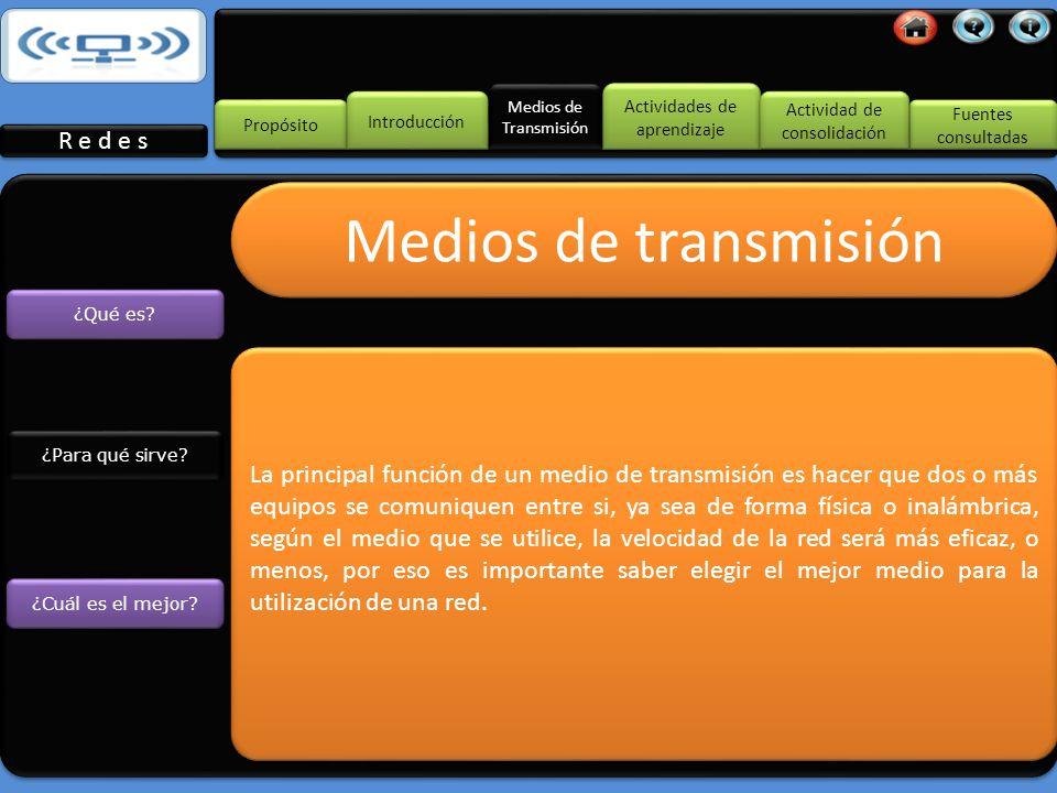 Medios de Transmisión Propósito Introducción R e d e s Fuentes consultadas Fuentes consultadas Actividades de aprendizaje Actividades de aprendizaje Actividad de consolidación Actividad de consolidación Medios de transmisión ¿Para qué sirve.