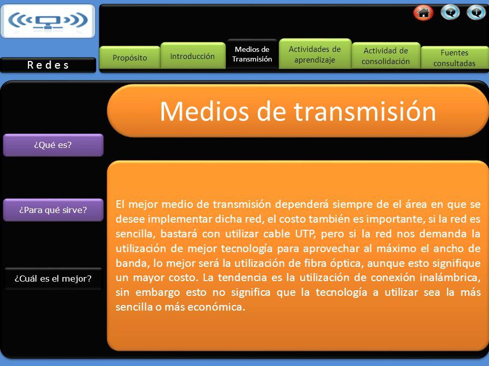 Medios de Transmisión Propósito Introducción R e d e s Fuentes consultadas Fuentes consultadas Actividades de aprendizaje Actividades de aprendizaje Actividad de consolidación Actividad de consolidación ¿Para qué sirve.