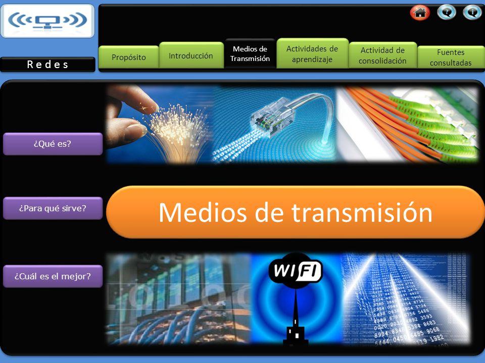 El medio de transmisión constituye el canal que permite la transmisión de información entre dos terminales en un sistema de transmisión.