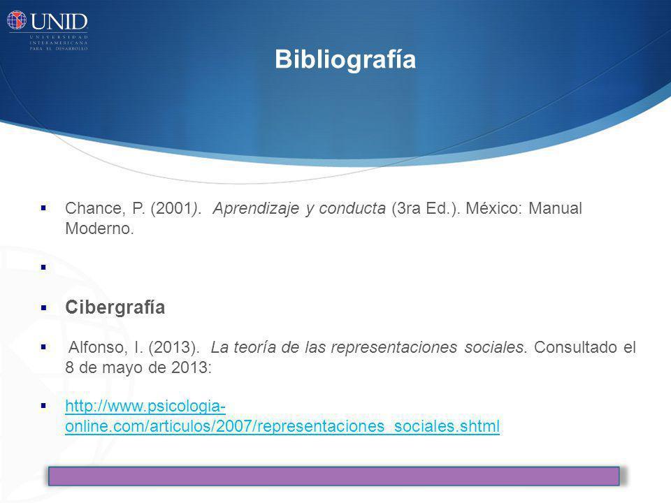 Bibliografía Chance, P. (2001). Aprendizaje y conducta (3ra Ed.). México: Manual Moderno. Cibergrafía Alfonso, I. (2013). La teoría de las representac