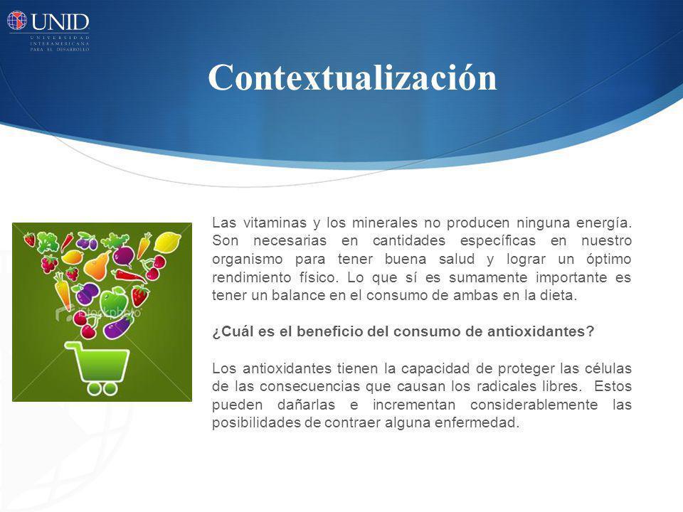 Contextualización Las vitaminas y los minerales no producen ninguna energía. Son necesarias en cantidades específicas en nuestro organismo para tener