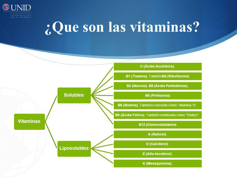 ¿Que son las vitaminas? Vitaminas Solubles C (Ácido Ascórbico).B1 (Tiamina). TambiénB2 (Riboflavina)B3 (Niacina). B5 (Ácido Pantoténico).B6 (Piridoxin