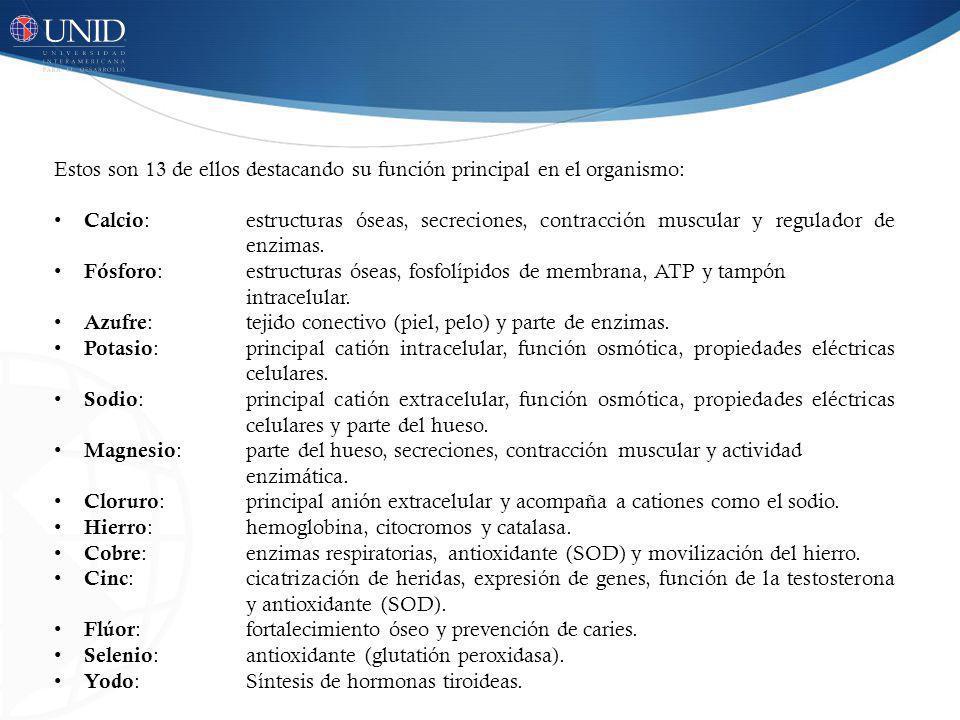 Estos son 13 de ellos destacando su función principal en el organismo: Calcio : estructuras óseas, secreciones, contracción muscular y regulador de en