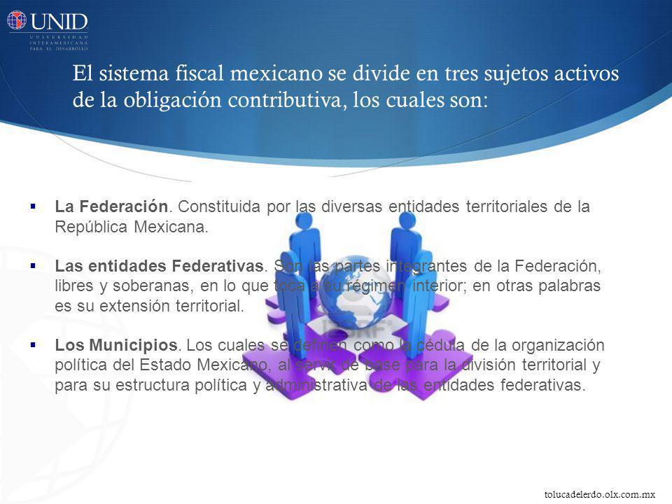 La Federación. Constituida por las diversas entidades territoriales de la República Mexicana. Las entidades Federativas. Son las partes integrantes de