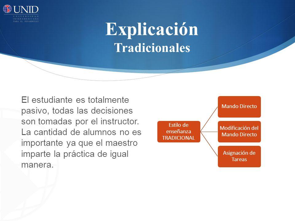 Explicación Tradicionales El estudiante es totalmente pasivo, todas las decisiones son tomadas por el instructor.
