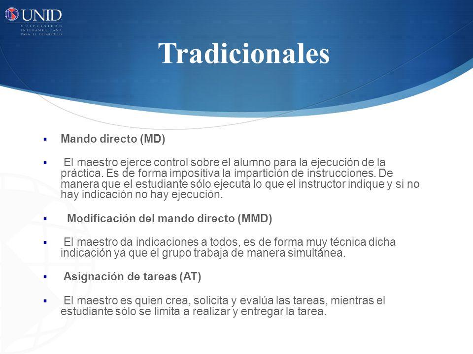 Tradicionales Mando directo (MD) El maestro ejerce control sobre el alumno para la ejecución de la práctica.