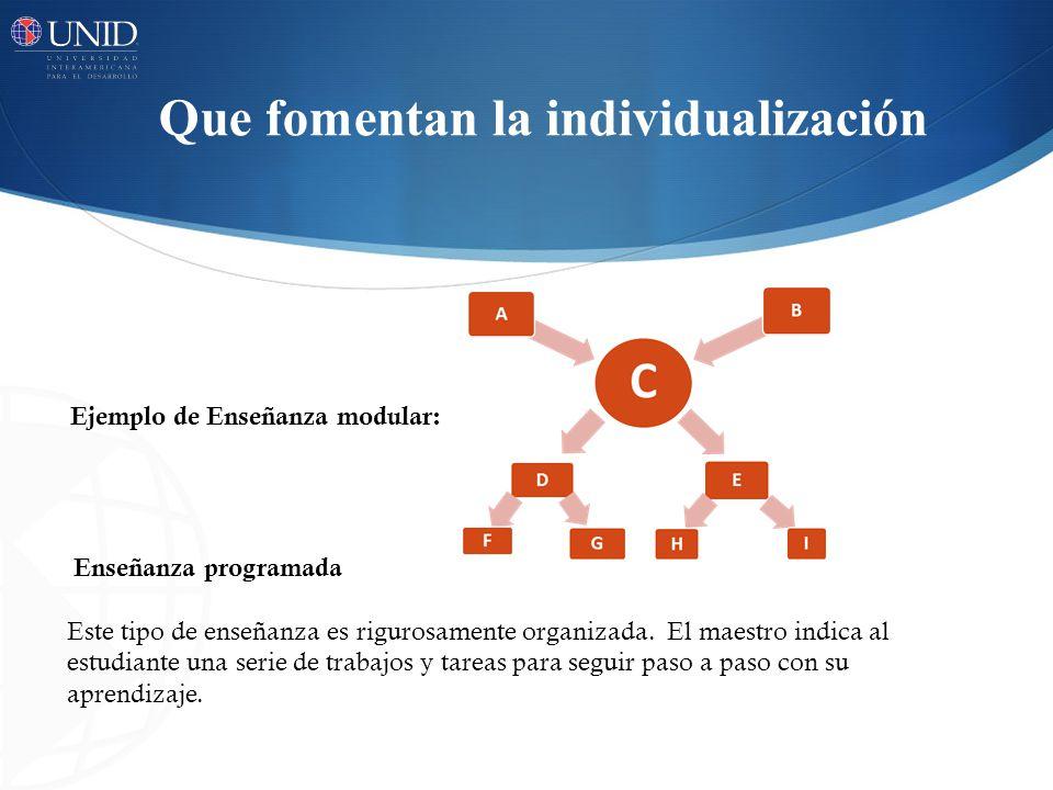 Que fomentan la individualización Ejemplo de Enseñanza modular: Enseñanza programada Este tipo de enseñanza es rigurosamente organizada.