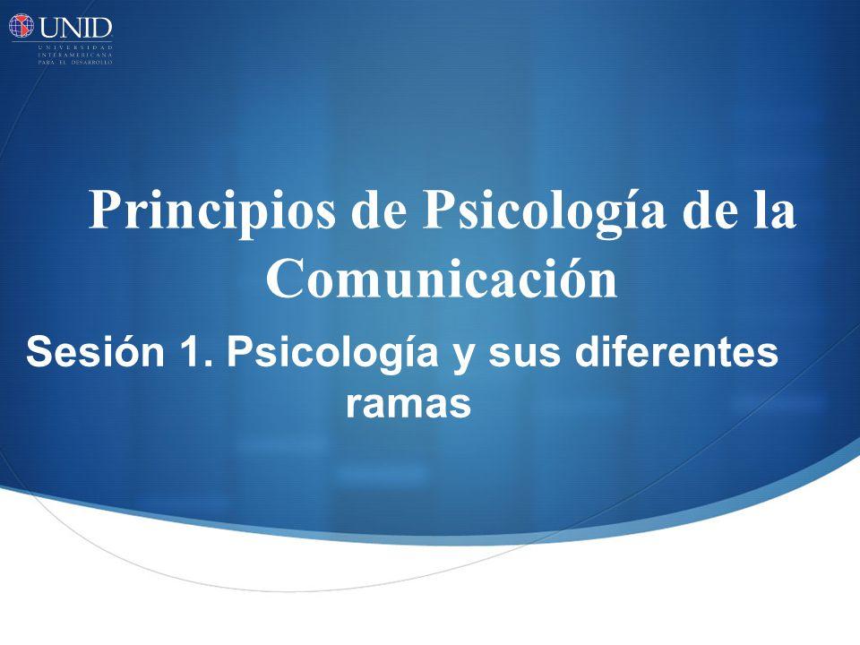 Principios de Psicología de la Comunicación Sesión 1. Psicología y sus diferentes ramas