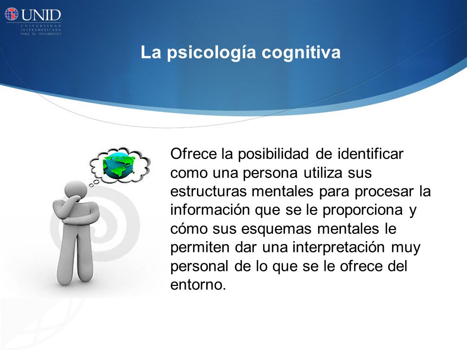 La psicología cognitiva Ofrece la posibilidad de identificar como una persona utiliza sus estructuras mentales para procesar la información que se le