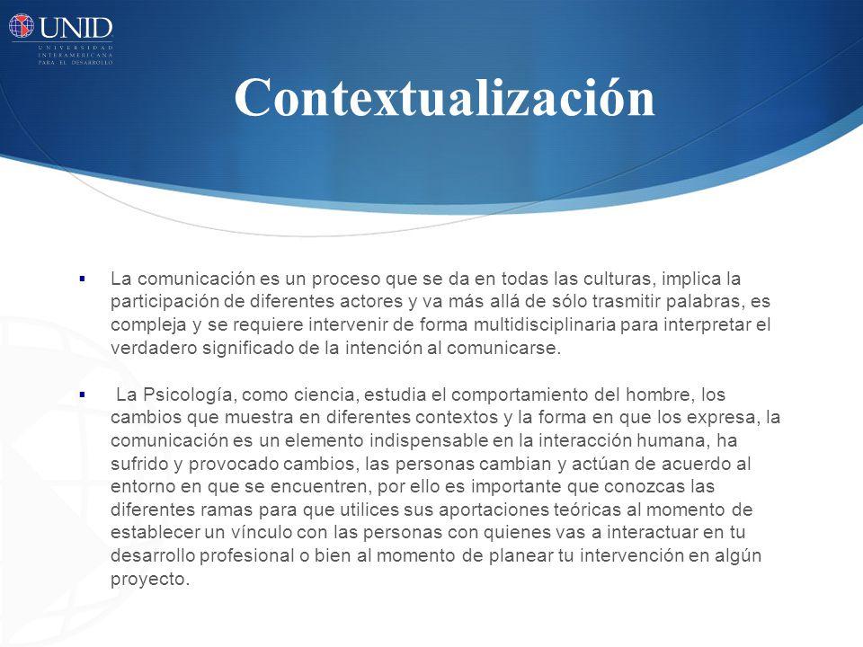 Contextualización La comunicación es un proceso que se da en todas las culturas, implica la participación de diferentes actores y va más allá de sólo