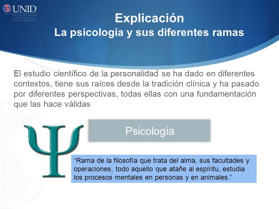 Explicación La psicología y sus diferentes ramas El estudio científico de la personalidad se ha dado en diferentes contextos, tiene sus raíces desde l