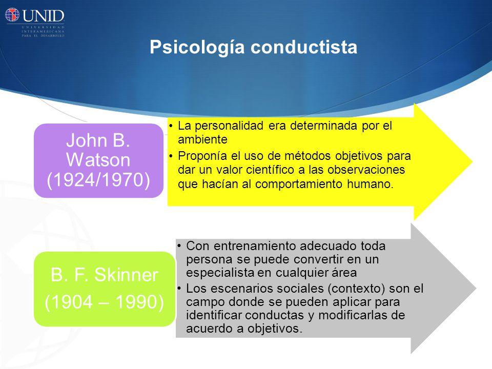 Psicología conductista La personalidad era determinada por el ambiente Proponía el uso de métodos objetivos para dar un valor científico a las observa