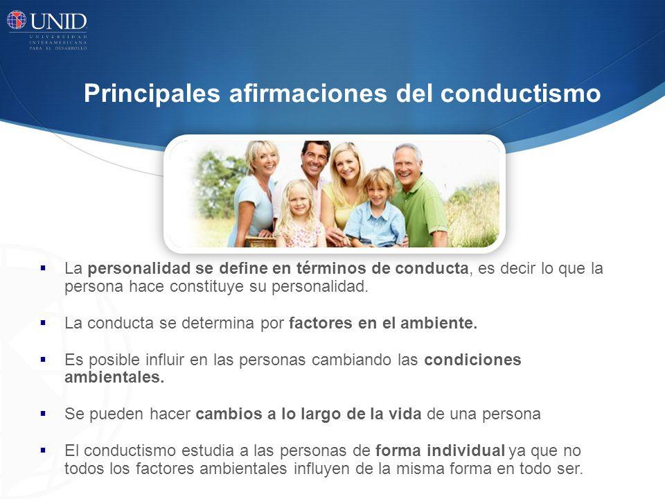 Principales afirmaciones del conductismo La personalidad se define en términos de conducta, es decir lo que la persona hace constituye su personalidad
