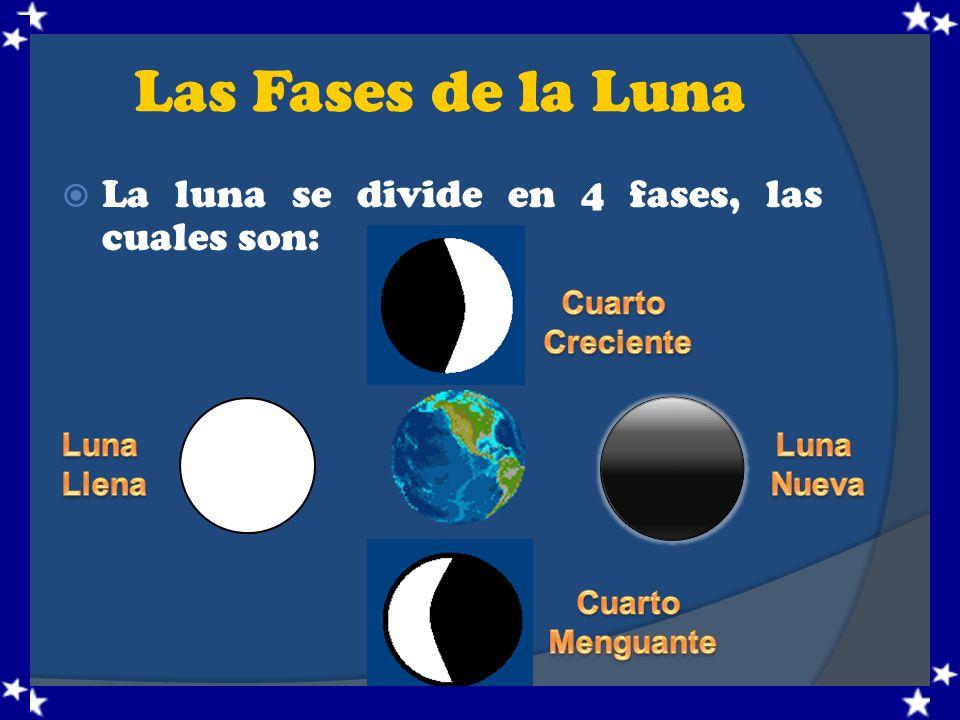 Las Fases de la Luna La luna se divide en 4 fases, las cuales son: