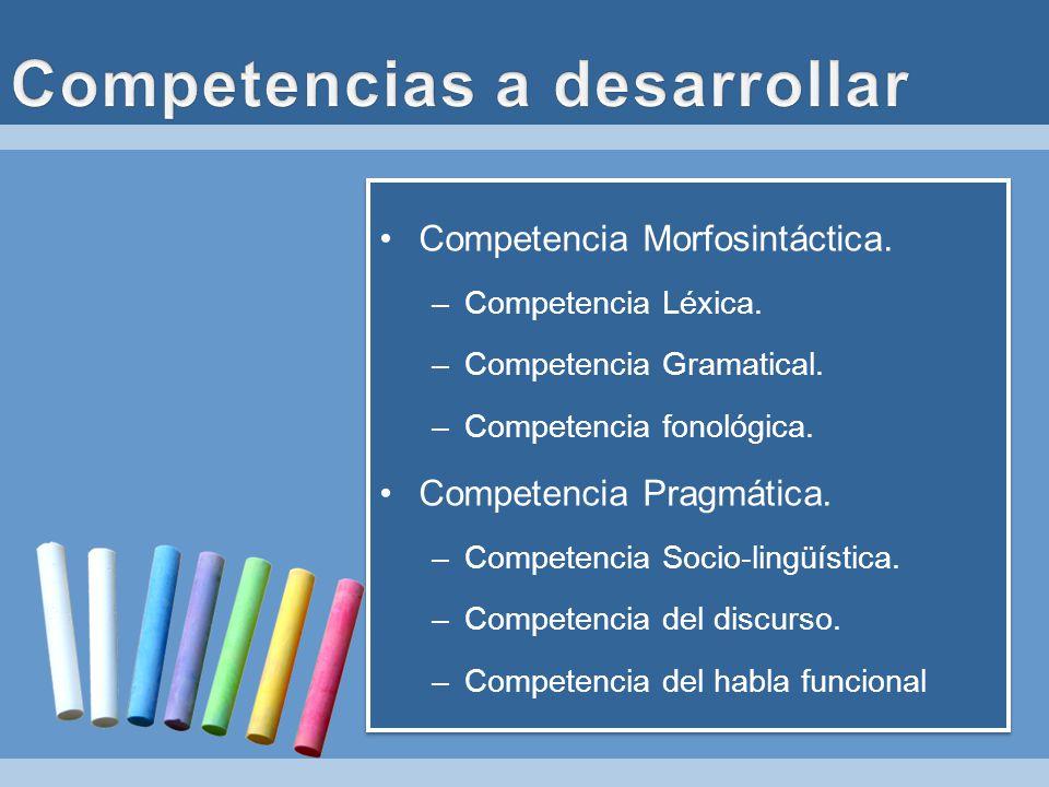 Competencia Morfosintáctica. –Competencia Léxica. –Competencia Gramatical. –Competencia fonológica. Competencia Pragmática. –Competencia Socio-lingüís