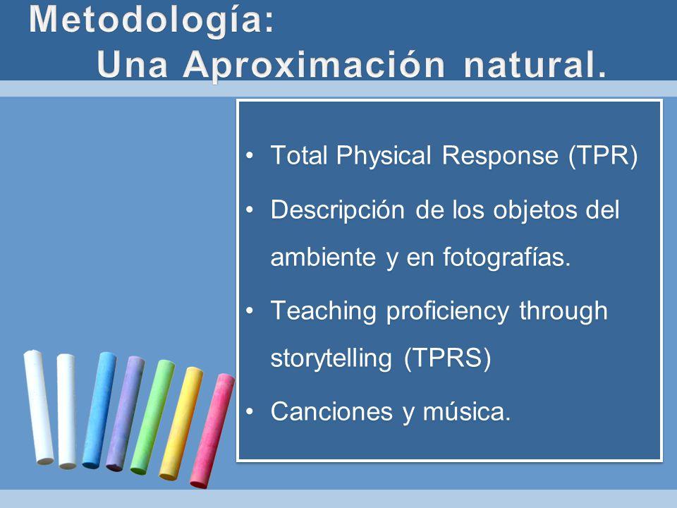 Total Physical Response (TPR) Descripción de los objetos del ambiente y en fotografías. Teaching proficiency through storytelling (TPRS) Canciones y m